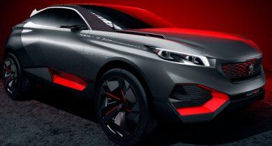 Quartz, le concept car de Peugeot présenté lors sur Mondial de l'Automobile 2014 à Paris.